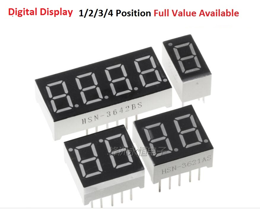 """5PCS Digital Tube 0.28"""" 0.36"""" 0.56"""" inch 1/2/3/4 segment Position Common anode/cathode Red LCD Digital Display Tube AS/BS"""