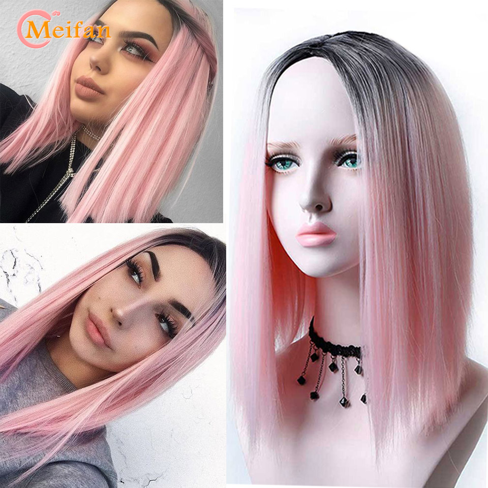 MEIFAN Medium Long Straight Heat Resistant Synthetic Wigs For Women Cosplay Or Party Bob Ombre Black Pink Wigs