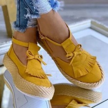 New Fashion Round Toe Tassel Platform Heel Shoes Espadrille Fisherman Shoes Lace up Flat bottomed Fringed Bowknot Casual Shoes
