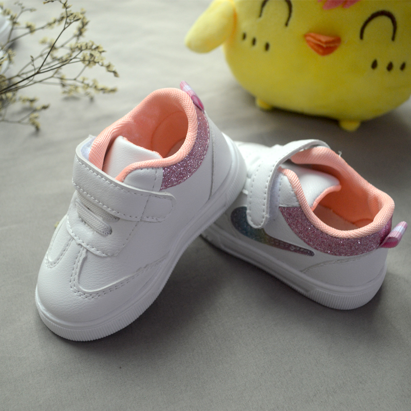 Colorful Rainbow Check Hook & Loop Boys Baby White Shoes Infant Toddler Girls Sneaker Casual Kid First Walkers Sports Plush Wint