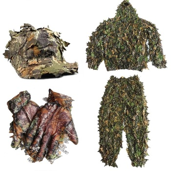 CS 3D Leaf Yowie Sniper Ghillie Suit + Jungle Cap +Camouflage Gloves Lightweight Breathable Hunting Clothes for Bird Watching breathable jungle bionic camo clothes wild hunting suits for hunter oem factory