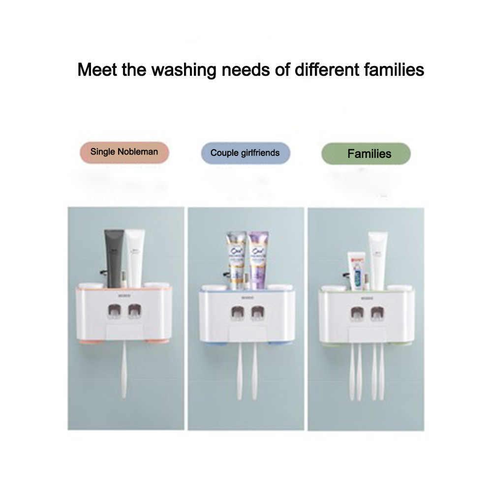 LEDFRE Kunststoff Automatische Zahnpasta Spender Set mit Wand Montiert Kinder Hände Freies Zahnpasta Squeezer für Kinder für bad