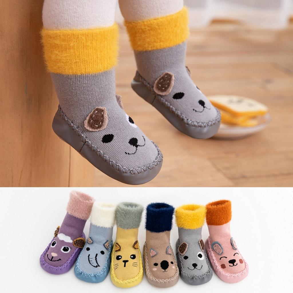 Toddler Kids Foot Socks Winter Cartoon Cute Warm Newborn Baby Boys Girls Floor Socks Anti-Slip Baby Step Socks носки детские