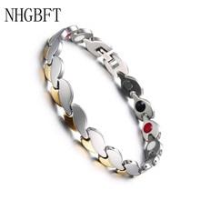 NHGBFT Stainless Steel Leaf Energy Bracelet Bangle For Men Women Healthcare Anion Heart Shaped Steel Quantum Bracelet