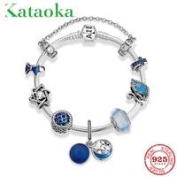 Hot 925 Sterling Silver Zircon Charm Blue Enamel Night starry sky Charm Bracelet Women's Beads Luxury Snake Chain Bracelet DIY