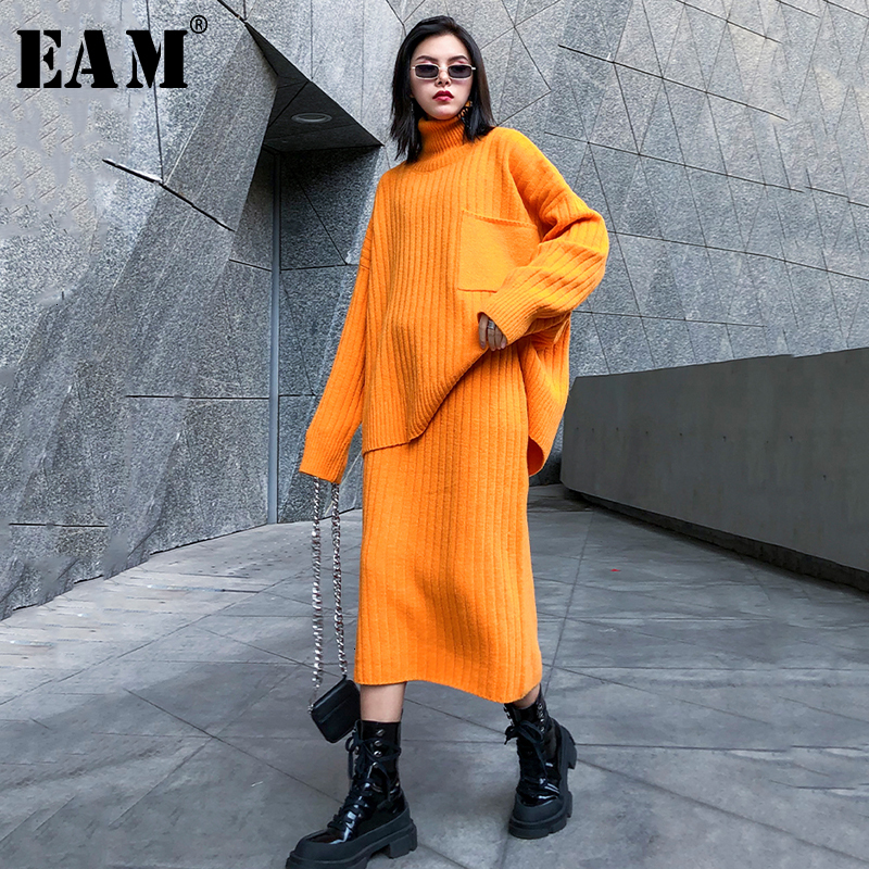 [EAM]  Half-body Skirt Knittng Big Size Two Pieces Suit New Turtleneck Long Sleeve Loose Women Fashion Spring Autumn 2019 1K341
