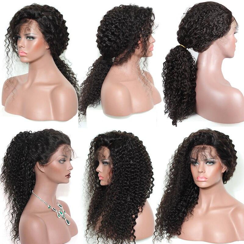 Кудрявый 360 кружевной фронтальный парик с детскими волосами глубокая волна Боб прозрачный 13х6 кружева фронта человеческих волос парики 370 п... - 3