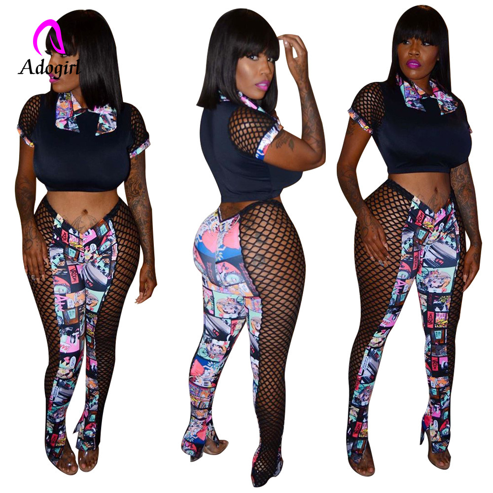 Black 2020 New Summer Character Print Side Mesh Stitching See-though Patchwork Tee Top &pants Suit Sexy Two Piece Set Outfits