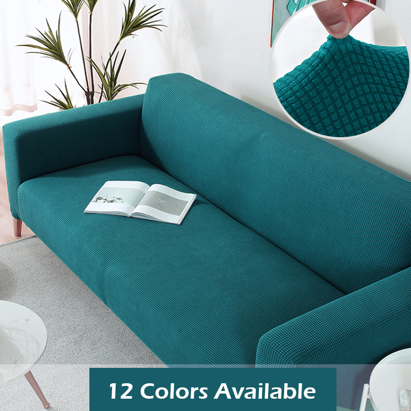 1/2/3/4 Seat Polar Fleece Fabric Sofa Cover Big Elastic Stretch Pattern Checked Sofa Covers Washable Removable Couch Covers