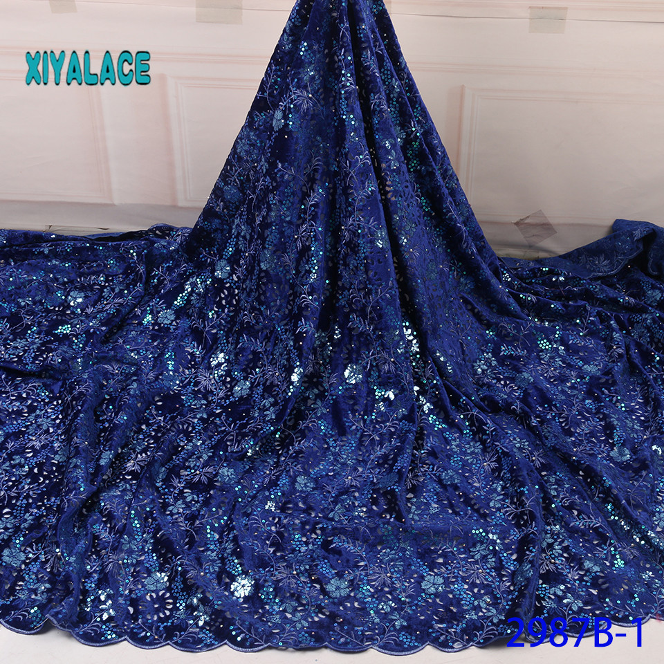 2019 High Quality African Lace Fabric Nigerian Net Lace Fabric Wedding French Sequins Tulle Lace Material For Dress YA2987B-1