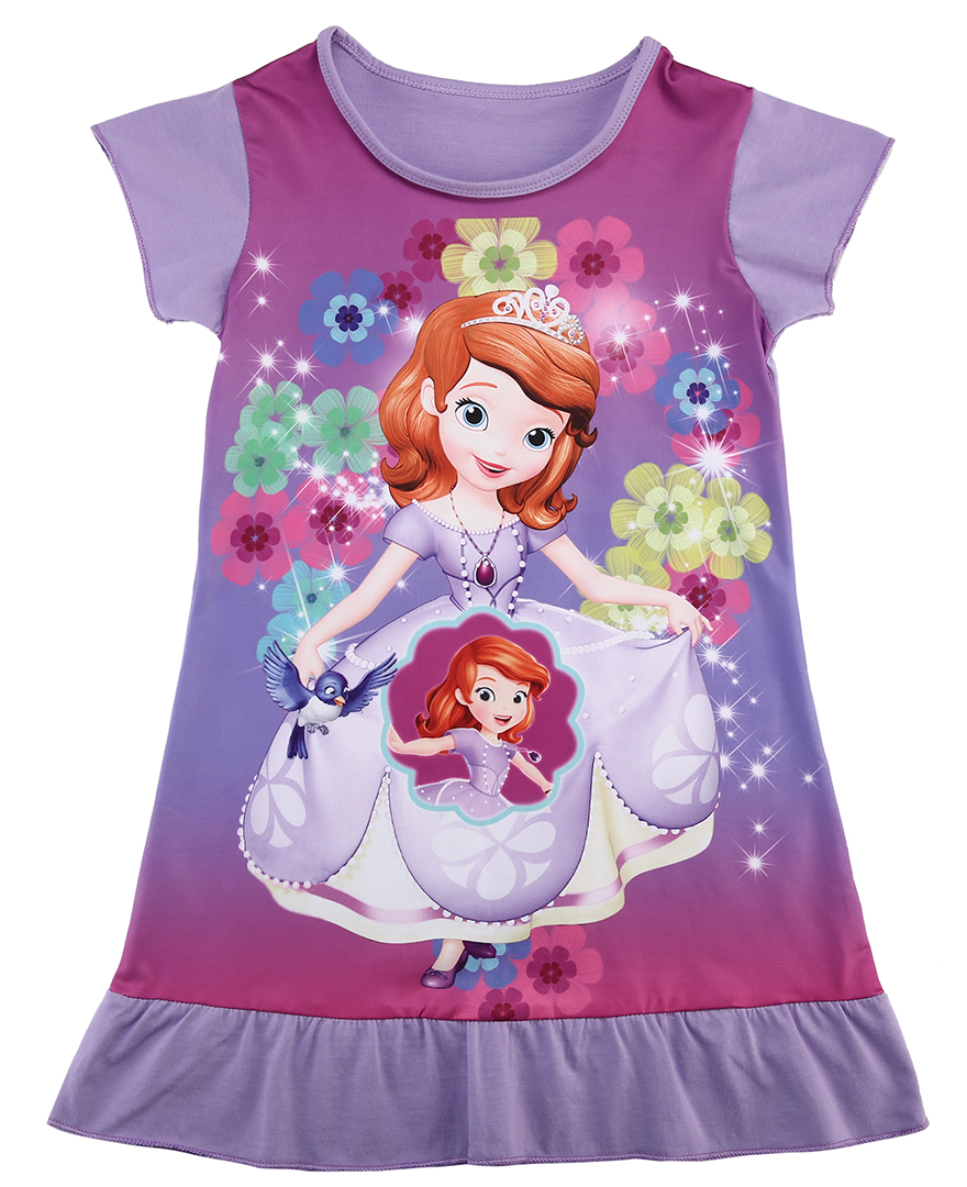 USA Cartoon Baby Girls Mermaid Snow White Sofia Princess Dress Kids Party Dress