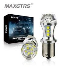 MAXGTRS 2x1156 светодиодный BA15S P21W S25 18 светодиодный 3030 чипов 6000 К белый красный желтый стоп-сигнал задний фонарь DRL Автомобильный задний фонарь объ...