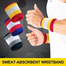 1pc Colorful Cotton Wristband Wrist Support Breathable Sweatband Basketball Badminton Table Tennis Yoga Sportswear Accessories(China)