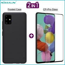 Nillkin 2 in 1 전화 서리로 덥은 케이스 + 삼성 갤럭시 A01 A11 A41 A51 a71에 대 한 화면 보호기 전체 덮여 강화 유리 영화