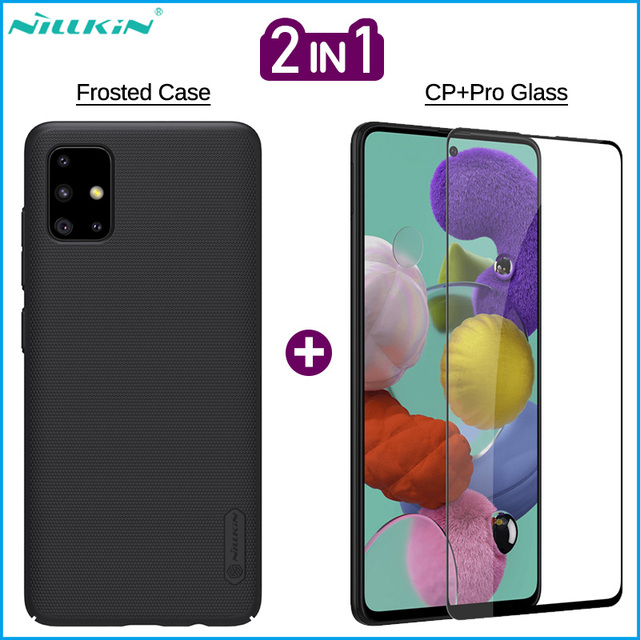 Nillkin 2 in 1 Phone Frosted Case + Screen Protector for Samsung Galaxy A01 A11 A41 A51 A71 Full Covered Tempered Glass Film