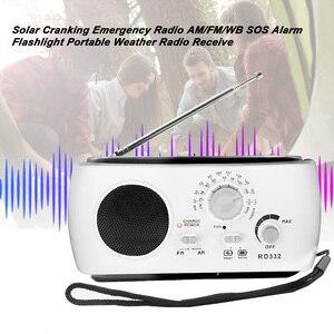 Image 3 - Mới Chạy Bằng Năng Lượng Mặt Trời Đài FM Tay Quay Máy Phát FM/AM Khẩn Cấp Radio 3 Đèn LED Khẩn Cấp Sạc Báo Động Di Động đài FM