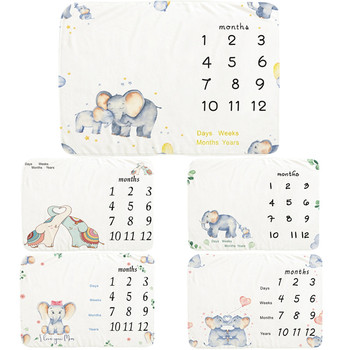 Soft Flannel Baby Monthly Milestone Blanket Cute Elephant Pattern Background Cloth Creative Newborn Photography Props Blanket wings pattern baby milestone blanket
