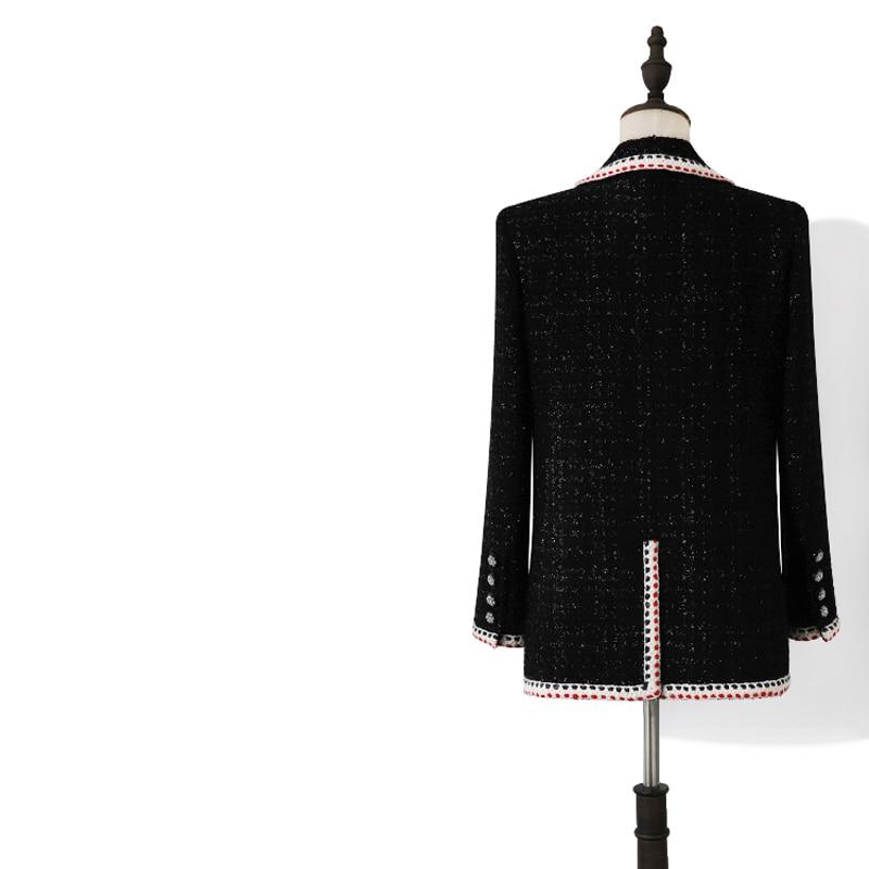 Spring Autumn Heavy Vintage Plaid Woolen Tweed Jackets And Blazers Women Chic Button Coat Female Outwear Office Blazer Feminino
