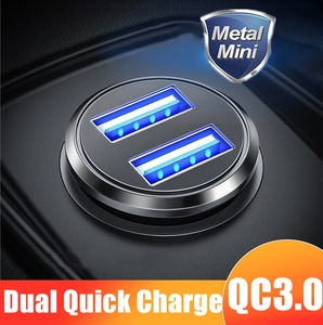 36W QC 3.0 Quick Charge Dual USB Car Charger All Metal Car Auto Charger Mini Car Phone Charger for iPhone Samsung Huawei Xiaomi