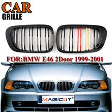 цена на MagicKit NEW Pair Gloss Black M-Color Car Front Kidney Grill Grilles For BMW E46 3 Series 2 Door Sedan 1999-2001 Racing Grills