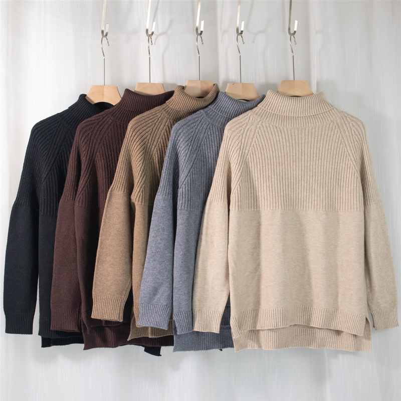 Sweater Women Turtleneck Pullovers Solid Stretch Striped Korean Top Knit Plus Size Harajuku Fall 2020 Winter Clothes Beige Khaki 6