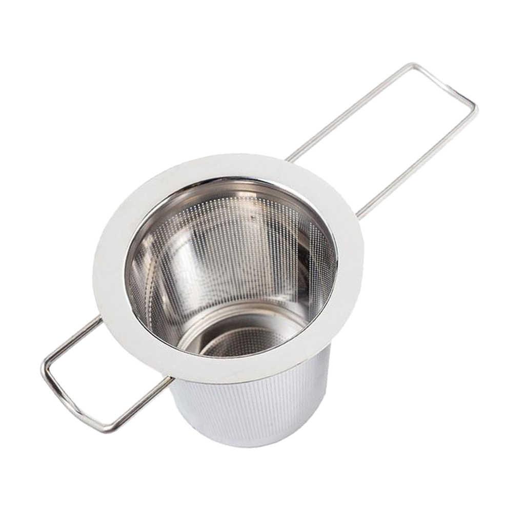 נירוסטה תה Infuser מסננת רשת עם גדול קיבולת ארוך ידית לתלייה על קומקומי, כוס, ספל, 74x48x65mm