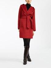 エレガントなソリッドロングドレス女性ウールコートスリムロング秋冬ジャケット暖かい黒赤ポケットヴィンテージカシミヤコート 2019