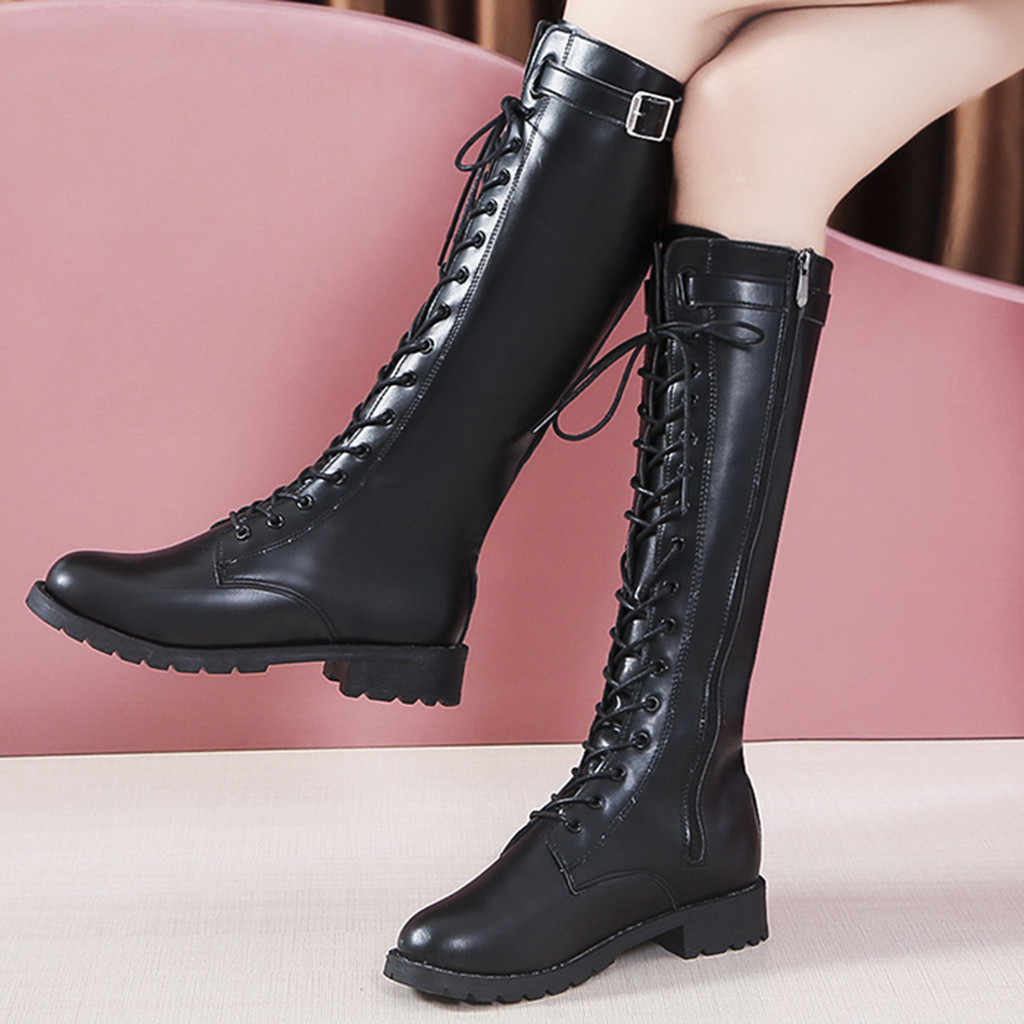 เข็มขัดแฟชั่น BUCKLE ยาวฤดูหนาว LACE-Up รองเท้าผู้หญิงรองเท้าส้นสูงผู้หญิงเข่า- สูงยาว Zipper