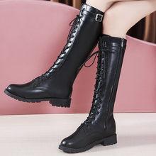 Fashion Belt Buckle Strap Long Boots Winter Lace-Up Shoes Women Pure Color High-Heeled Women Knee-High Long Tube Zipper Boots(China)