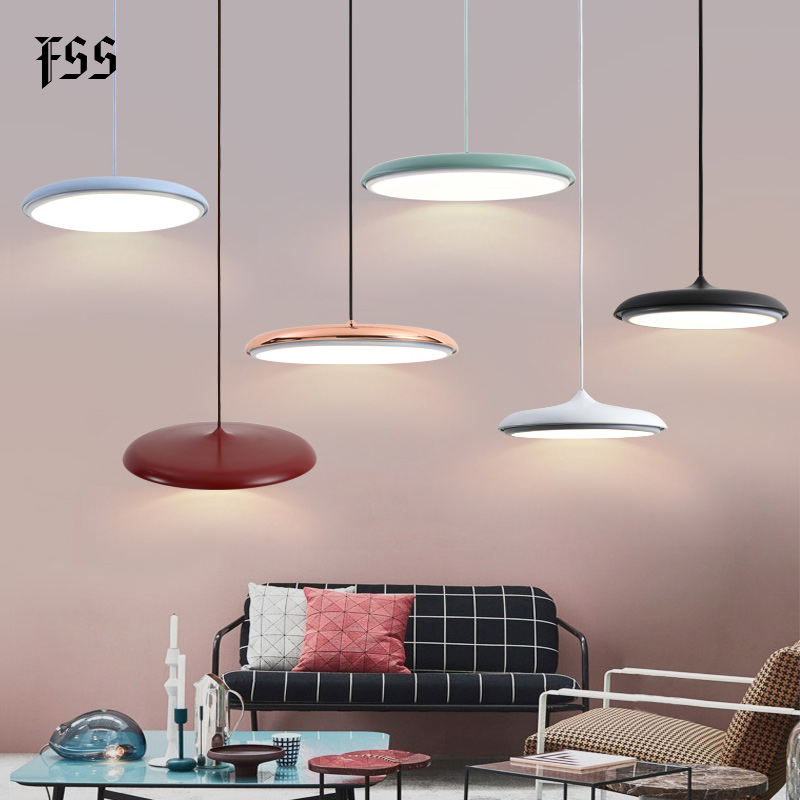 Modern Art Design LED Pendant Light UFO Round Plate Suspension Lamp For Dining Room Living Room Bedroom Table Study Hanging Lamp