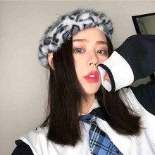 2019 New Retro Leopard Painter Hat Japanese Bud Korean Rabbit Pumpkin Female Bere