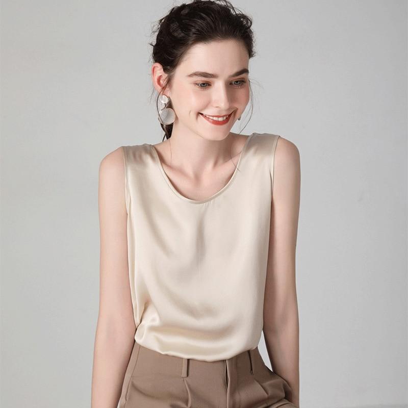 SuyaDream Women Silk Tanks 100%Real Silk Satin O neck Sleeveless Shirt 2020 Solid Summer Vests