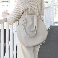 Hot Big Circular Cowhide Shoulder Bags Genuine Leather Women's Crossbody Messenger Bags Ladies Purse Female Round Bolsa Handbags