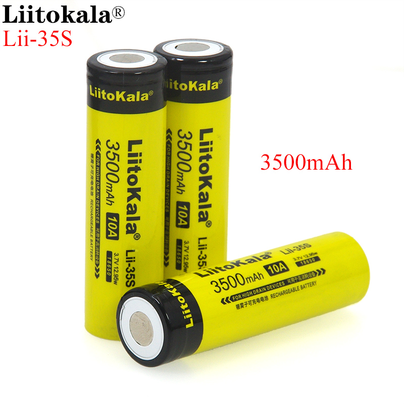 NEW LiitoKala 18650 Battery Lii-35S 3.7V Li-ion 3500mAh 10A discharge Power battery For high drain devices