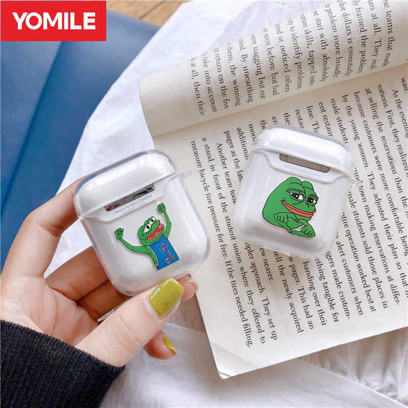 Funny Cute Sad Pepe Frog Clear Earphone Cases For Apple Airpods 1