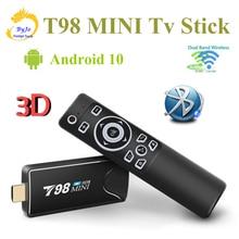 T98 MINI PC Dongle Miracast Bluetooth WIFI HDMI 4K Tv Stick Android 10,0 4G 32G Optional TV BOX