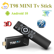 T98 MINI PC Dongle MiracastบลูทูธWIFI HDMI 4K Tv Stick Android 10.0 4G 32Gตัวเลือกทีวีกล่อง