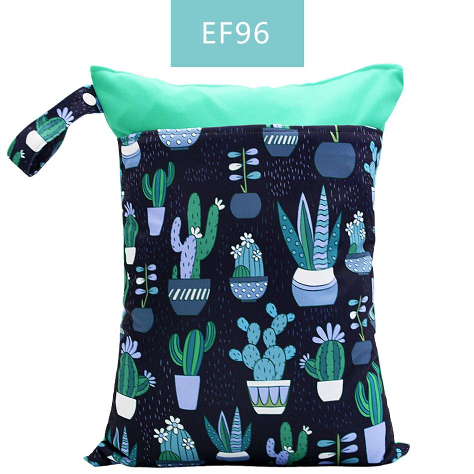 Happy Flute 1 шт. Многоразовые водонепроницаемые модные принты влажная сухая сумка для подгузников двойной карман тканевая Ручка сумки для мокрого плавания 30*40 см - Цвет: ES001-EF96