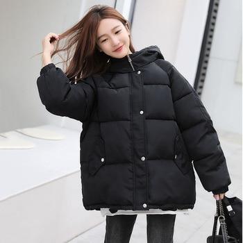 Expédié sous 12h femmes hivers manteaux 2020 à capuche hiver Bomber vestes femmes épais quité coton Parka surdimensionné veste ample 1