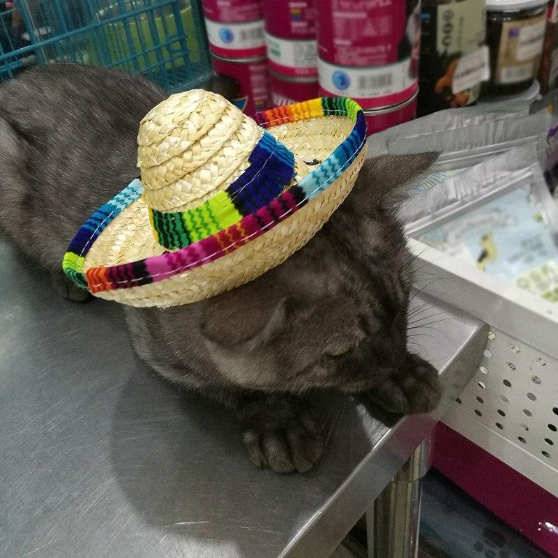 Kongqiabona-UK Verano Moda Mascota Perro Gato Fresco Sombrero de Paja Sombrero para el Sol Cachorro Suministros Estilo Hawaiano Accesorios para Mascotas Perro Gato Sombrero