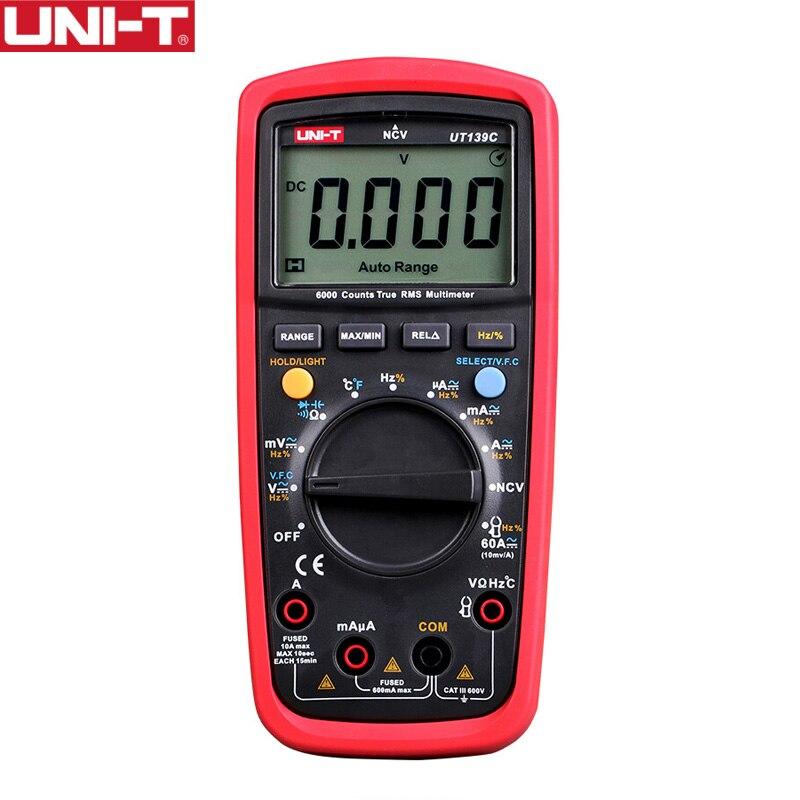 UNI-T UT139C Digital True RMS Auto Range Multimeter Meter 6000 Counts Voltmeter Temperature Resistance Diode Handheld Tester
