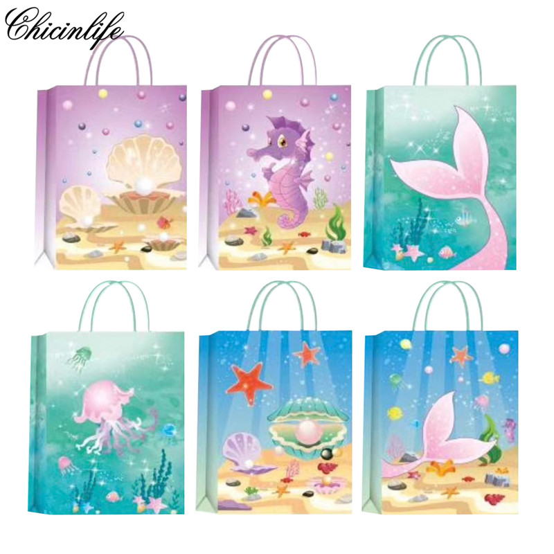 5Pcs Mermaid Shell Happy Birthday Party Paper Candy Box Kids Gift Cookies Packaging Bags Baby Shower Decoration Supplies