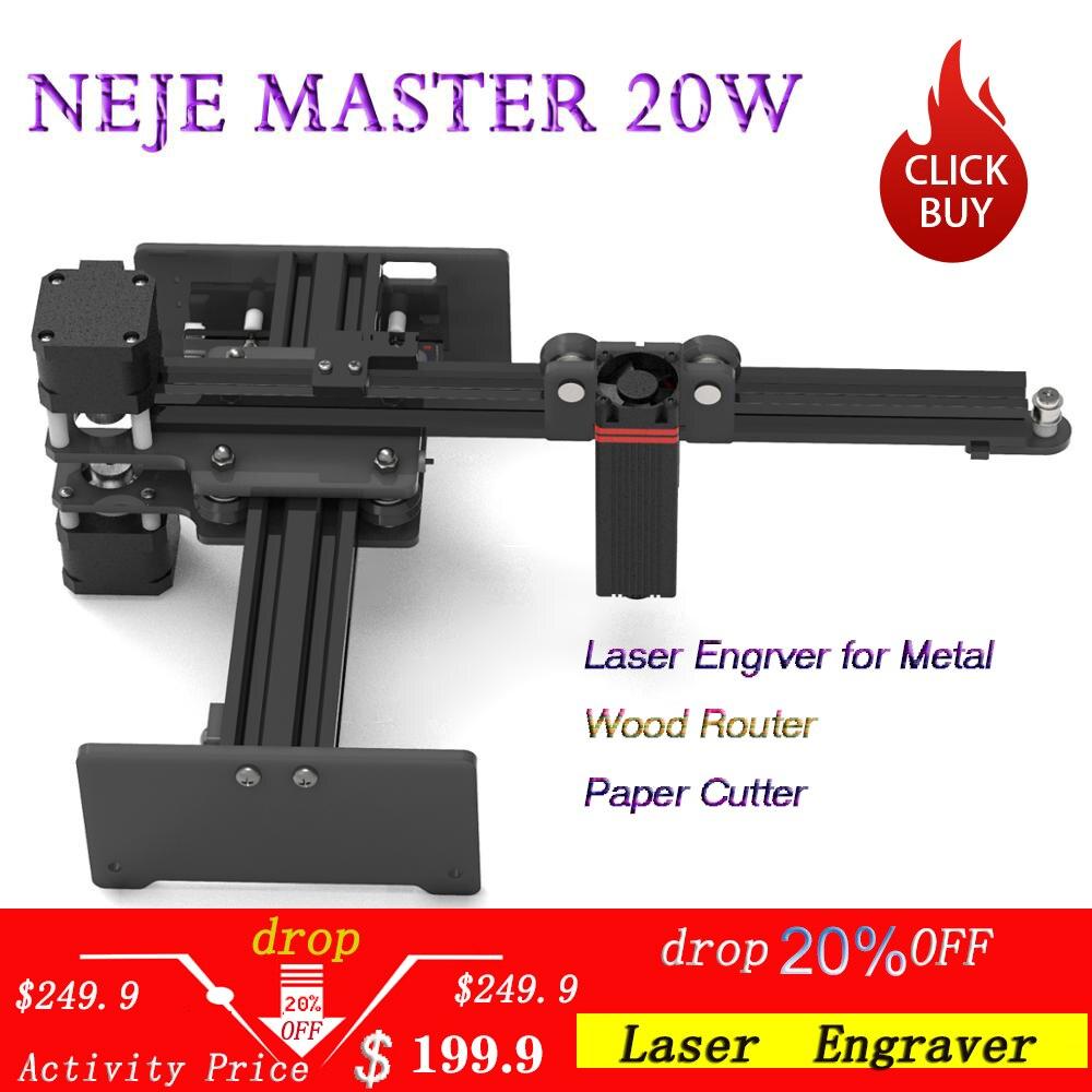 Máquina de grabado láser CNC NEJE Master 20 W/grabador láser para Metal/ENRUTADOR de madera/cortador de papel/grabador de 2 ejes/máquina de corte