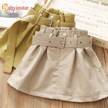 Babyinstar New Arrival Leather Skirts For Girl Kids Outfit Bottoms School Skirt Children Clothing Thick Girls with Belt