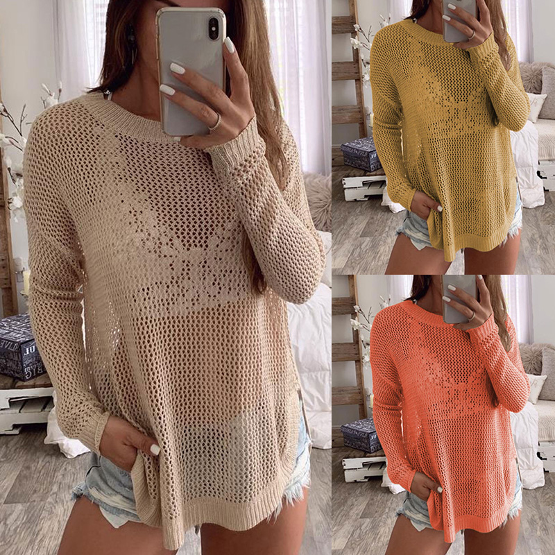 Long Sleeves Hollow Out Knitting Sweater Women's Tops Autumn Solid Color Sexy See-through Outwear Pullover Sweater Streetwear