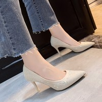 Women Elastic Fabric Pumps Dress Shoes Pointed Toe Fashion Office Sexy High Heels Thin Heel for Lady High Heel Office Y21 44
