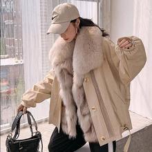 Zdfurs * 2020 Nieuwe Vos Bont Parker Vrouwen Afneembare Bontjas Met Vos Bontkraag Vos Bont Innerlijke Liner Winter warm Bont Kleding