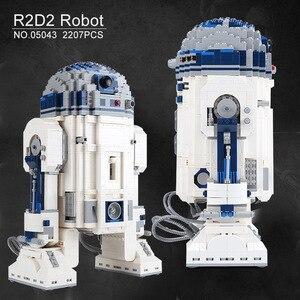 Image 3 - Lepining 05043 Star Movie Wars espacio fuera de impresión el Robot de R2 D2 bloques juguetes compatibles lepinblocks 10225