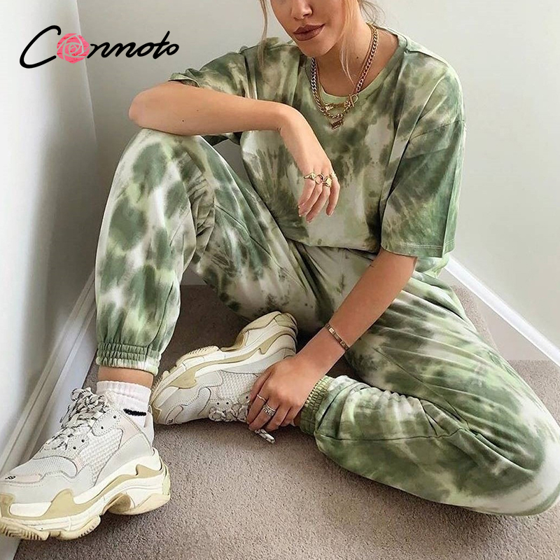 Conmoto Tie Dye High Fashion Casual Plus Size Women Suits Autumn Winter Streetwear 2 Pecs Suit Ladies O Neck Green Set