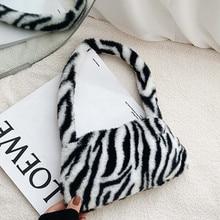 Borsa A spalla ascellare con motivo zebrato Vintage invernale borsa da donna in peluche autunno borsa morbida in pelliccia calda per borsa da donna Sac A Main